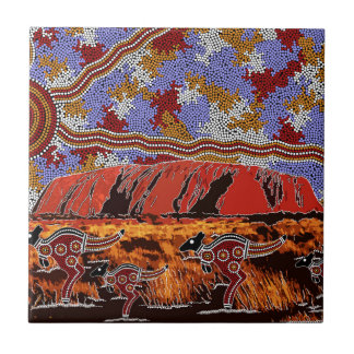 Uluru - Authentic Aboriginal Art Ceramic Tile