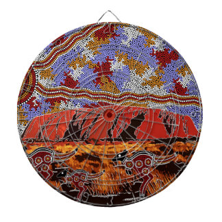 Uluru - Authentic Aboriginal Art Dartboard
