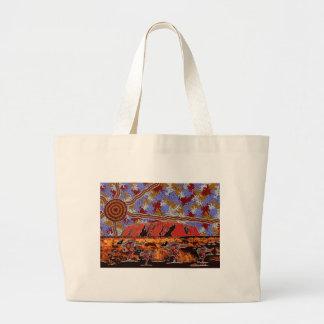 Uluru - Authentic Aboriginal Art Large Tote Bag