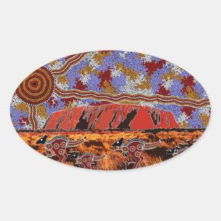 Uluru - Authentic Aboriginal Art Oval Sticker