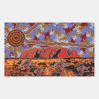 Uluru - Authentic Aboriginal Art Rectangular Sticker