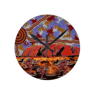 Uluru - Authentic Aboriginal Art Round Clock