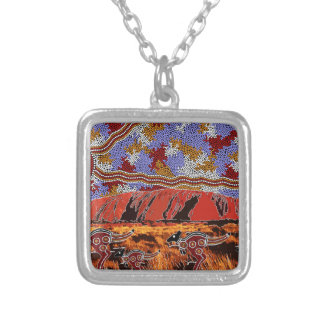 Uluru - Authentic Aboriginal Art Silver Plated Necklace