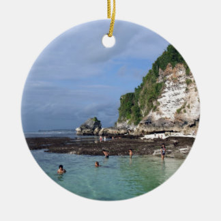 Uluwatu Bali tropical island paradise Round Ceramic Decoration