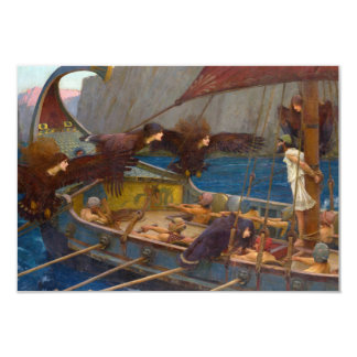 """Ulysses and the Sirens by John William Waterhouse 3.5"""" X 5"""" Invitation Card"""