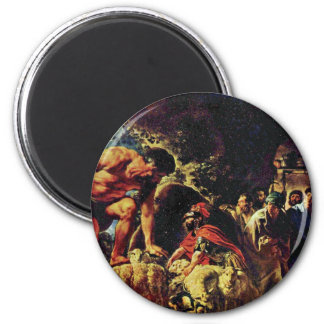 Ulysses In The Cave Of Polyphemus By Jordaens Jaco 6 Cm Round Magnet