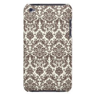 Umber and Ivory Elegant Damask Pattern Barely There iPod Cover