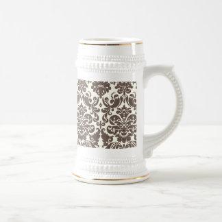 Umber and Ivory Elegant Damask Pattern Beer Steins