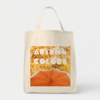 Umbrella and Autumn Colors Grocery Tote Bag