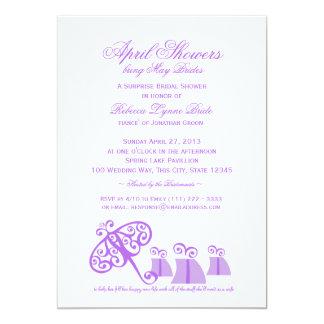 "Umbrella and Gifts Violet Bridal Shower 5"" X 7"" Invitation Card"