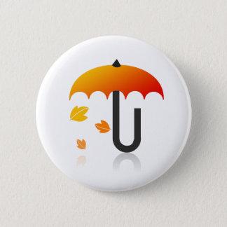 Umbrella and leaves 6 cm round badge