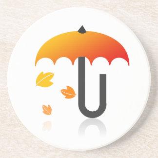 Umbrella and leaves coaster