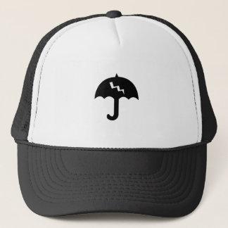umbrella and  lighting trucker hat