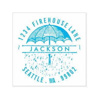Umbrella and Rain Self-Inking Return Address Stamp