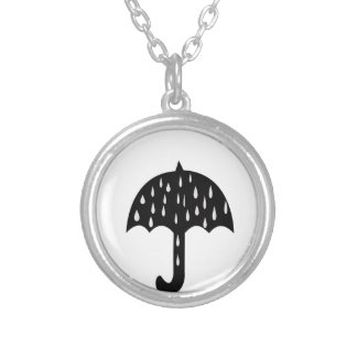 Umbrella and raining silver plated necklace