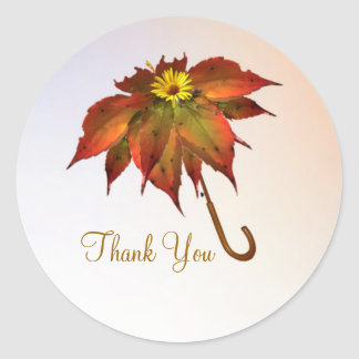 Umbrella autumn leaves Thank You Classic Round Sticker