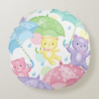Umbrella Baby Bears Round Pillow