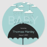 Umbrella Baby Shower Save the Date Label Round Stickers