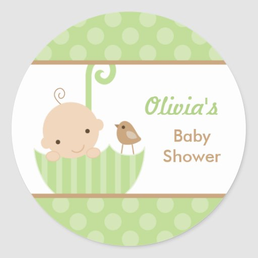 Umbrella Baby Shower Stickers in Green