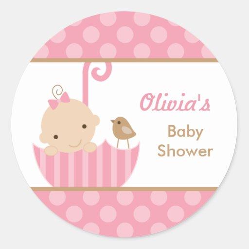 Umbrella Baby Shower Stickers in Pink