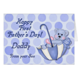 Umbrella Bear Blue - First Fathers Day Card