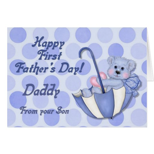 Umbrella Bear Blue - First Fathers Day Cards
