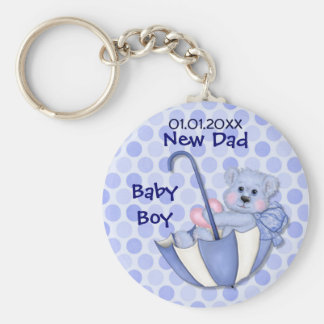Umbrella Bear - New Dad - Boy Basic Round Button Key Ring
