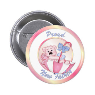 Umbrella Bear - New Dad - Girl 6 Cm Round Badge