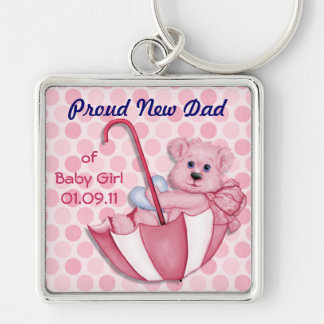 Umbrella Bear - New Dad of Girl Silver-Colored Square Key Ring