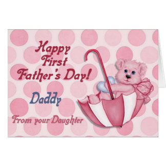 Umbrella Bear Pink - First Fathers Day Card