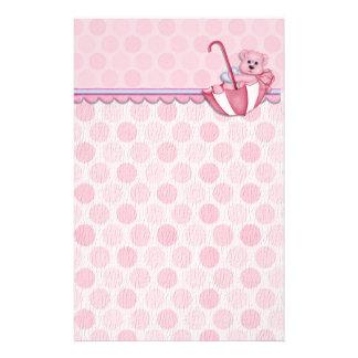 Umbrella Bear Pink Polka Dots Baby Stationery Design