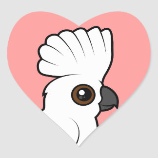 Umbrella Cockatoo (raised) Heart Sticker