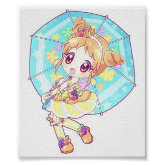 Umbrella Fruit Anime Art poster