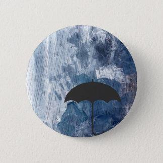 Umbrella in Blue Shower 6 Cm Round Badge