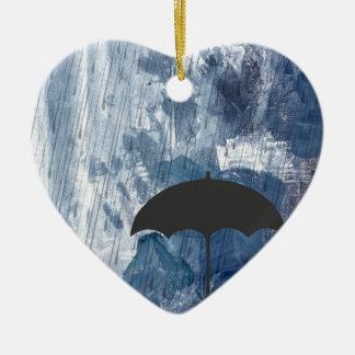 Umbrella in Blue Shower Ceramic Heart Decoration