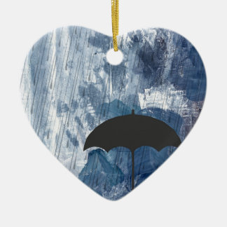 Umbrella in Blue Shower Ceramic Ornament