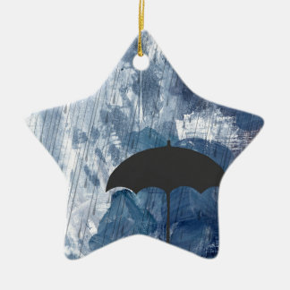 Umbrella in Blue Shower Ceramic Star Decoration