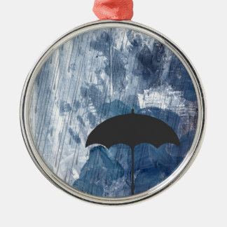 Umbrella in Blue Shower Metal Ornament