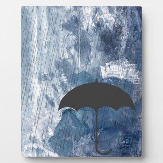 Umbrella in Blue Shower Plaque