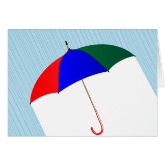 Umbrella In The Rain Card