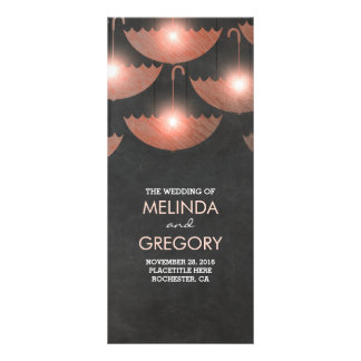 Umbrella Lights Chalk and Pink Wedding Program Rack Card