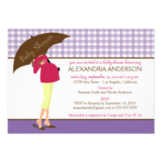 Umbrella Mommy Gingham Baby Shower Invite purple