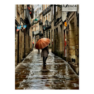 Umbrella on the Streets of Santiago De Compostela Poster