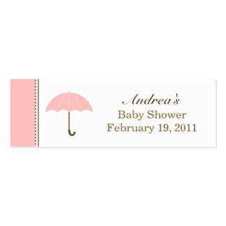 Umbrella Pink Small Tag Business Card Template