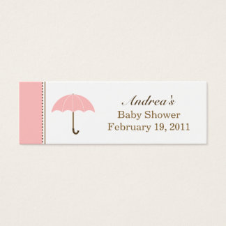 Umbrella Pink Small Tag Mini Business Card