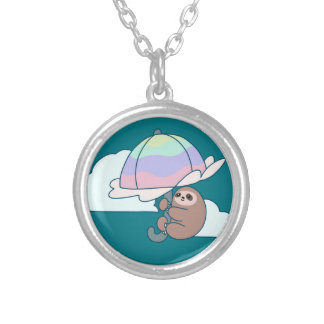 Umbrella Sloth Silver Plated Necklace
