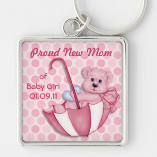 Umbrella Teddy Bear - New Mom of Girl - Customize Silver-Colored Square Key Ring