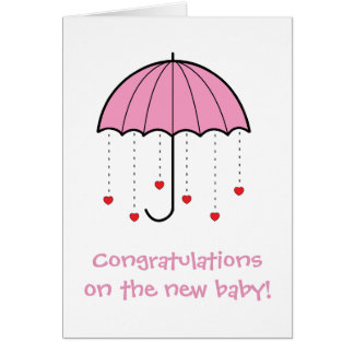 Umbrella with Hearts (Pink) - Congrats New Baby Card