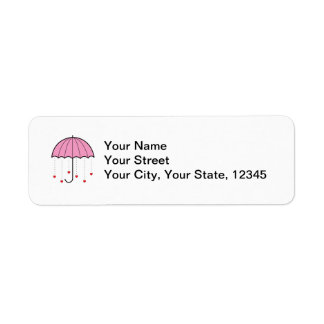 Umbrella with Hearts (Pink) Return Address Label
