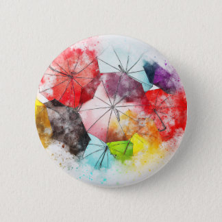 Umbrellas  Colorful Abstract 6 Cm Round Badge